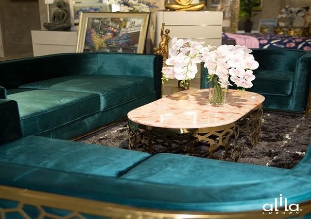 Mẫu sofa bọc nhung cao cấp cho phòng khách đẹp