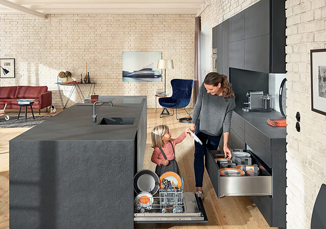 Tủ chìm Blum - Thêm không gian nội thất phòng bếp